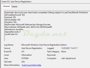 Event ID 331 User Device Registration resultCode: 0x1 preCheckResult: DoNotJoin