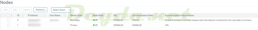 Unable to connect to primary, please check the network connectivity from secondary to primary System > High Availability > Nodes Synchronisation State FAILED