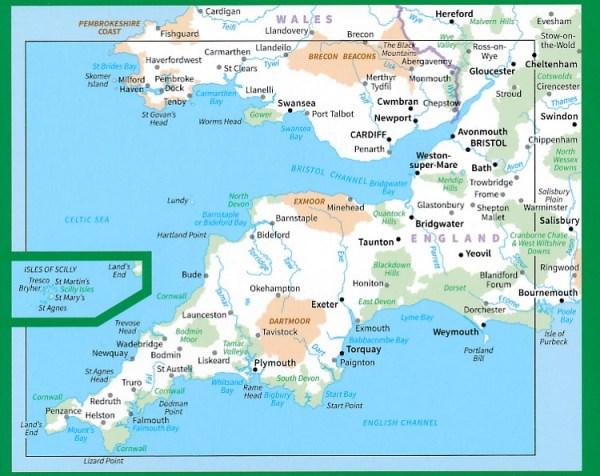 Wegenkaart landkaart 7 Roadmap South West England
