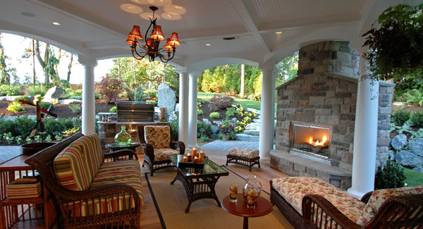covered outdoor living space Your Deck Is Glowing (With Fire Features) - DFD House
