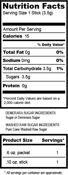 Domino Sugar Nutrition Label