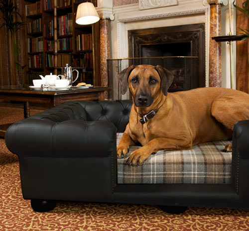 Balmoral Black Leather Dog Bed  Real or Faux Leather