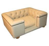 Sandringham Champagne Luxury Faux Leather Dog Bed