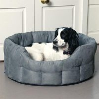 Durable Oval Faux Suede Dog Bed | Machine Washable | UK