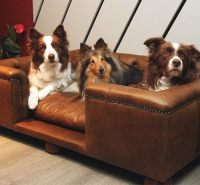 Sandringham Natural Tan Real Italian Leather Dog Bed