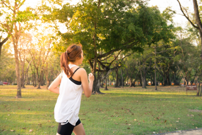 a woman jogging outdoors