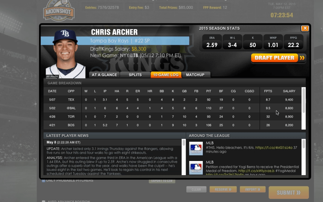MLB Pitchers Preview, Tue May 12 – DraftKings