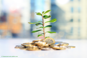 plant growing in money represents business growth by Fantasista