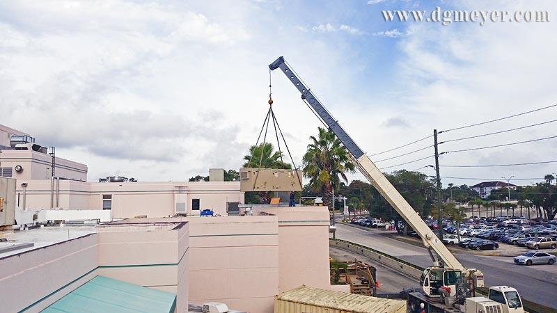 Setting Unit on Roof of Bert Fish Medical Center
