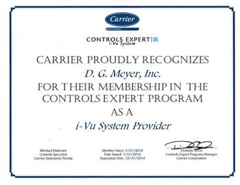 Carrier Controls Expert Certificate
