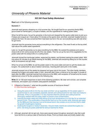 Sci 241 Food Safety Worksheet