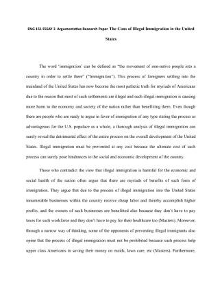 Essays On Immigration Argumentative Essay On Immigration Pdf