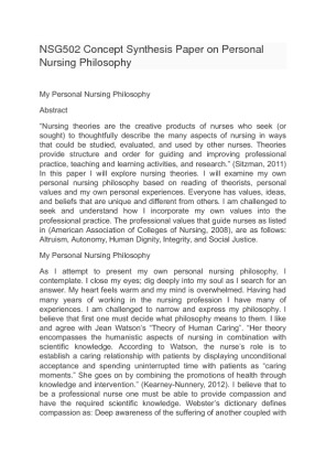 Nursing Philosophy Essay Health Policy Class Reflection Buy Essay