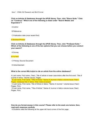 English 102 Intro Quiz Amu Coursework Academic Service