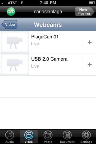 Listado de camaras en el iPhone