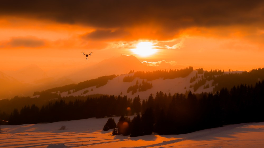 DJI Inspire 2 flying at Sunset over Avoriaz, France