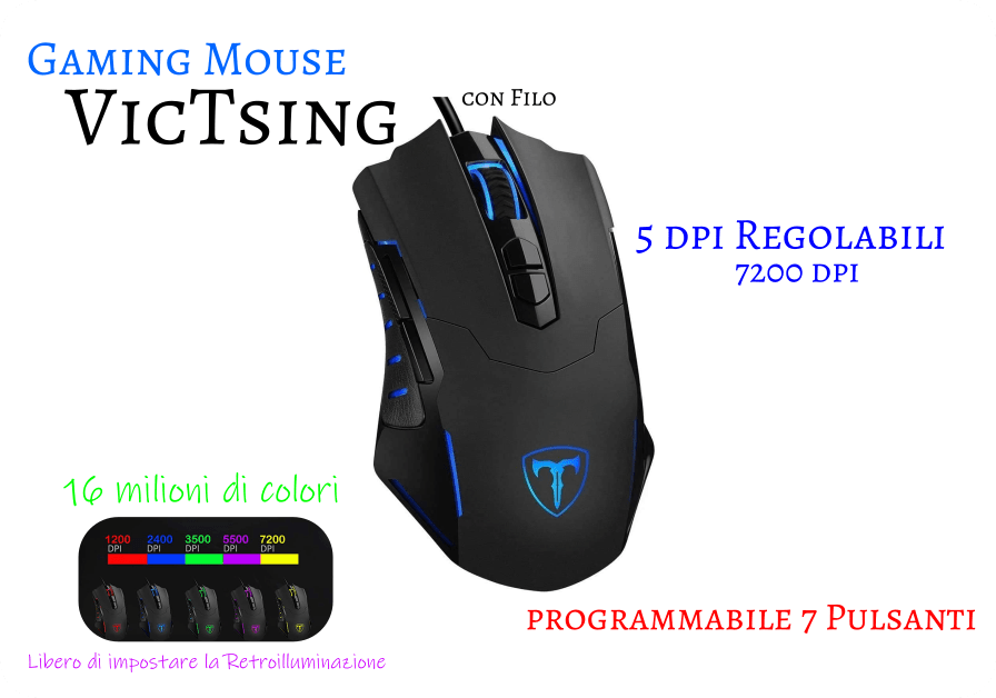 Gaming Mouse VicTsing Mouse da Gioco con Filo