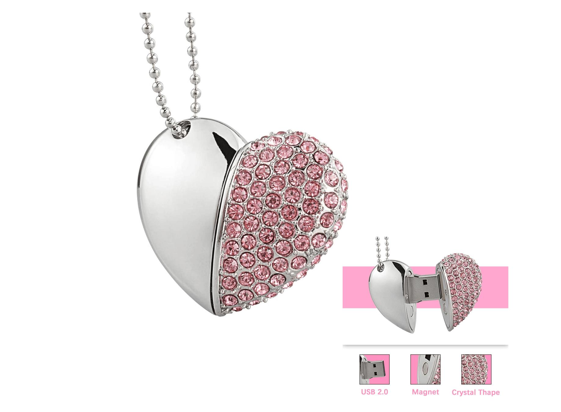 Chiavetta USB Metallo a forma di Cuore Diamante