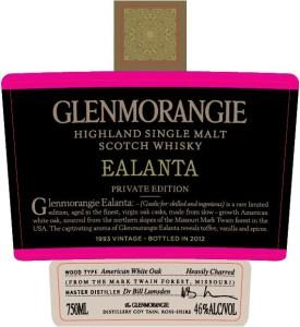 Het label van de Glenmorangie Ealanta
