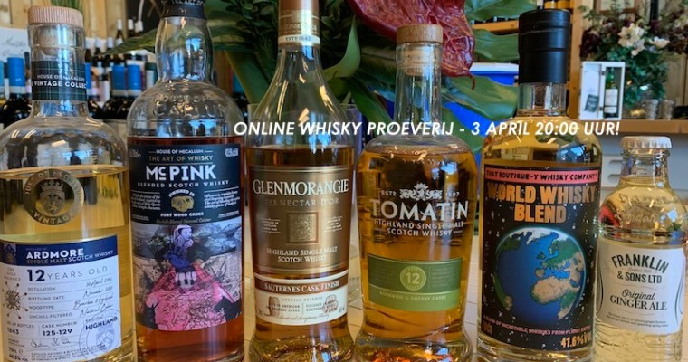 ONLINE WHISKY PROEVERIJ – 3 APRIL 2020!