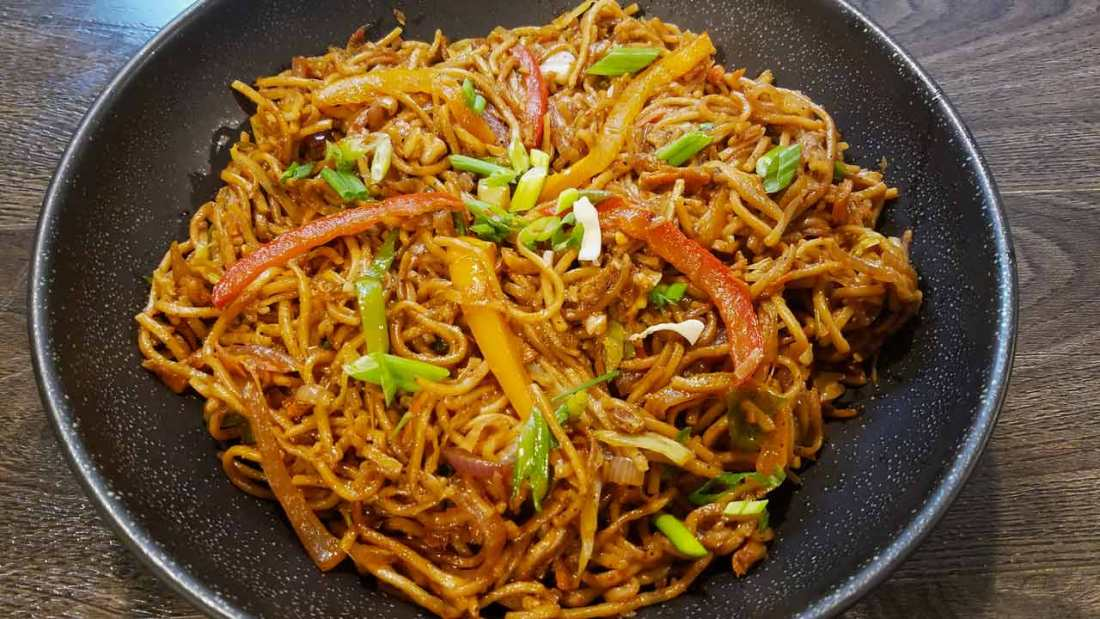 Chilli Garlic Chow Mein - Dhaba Style!! - Dhaba Style