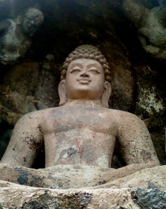 A Rock cut Seated Buddha Statue at Bojjannakonda, Visakhapatnam District