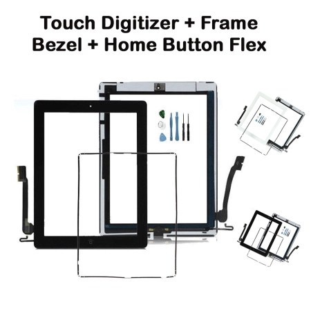 iPad 4 Screen Touch Digitizer + Frame Bezel + Home Button Flex Black and White