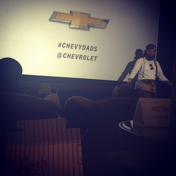 "Photo: @DhariLo Instagram ""@coltranecurtis introducing @chevrolet's #ChevyDads campaign featuring @futuradosmil @tabathammm @stretcharmstrong and #ArmandBartos"""