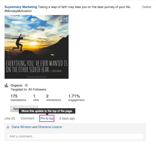 how to Pin post on linkedin