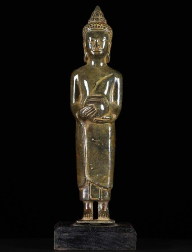 Standing Khmer Bronze Buddha Statue