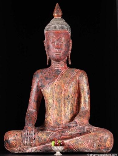 rose saffron tones khmer buddha statue