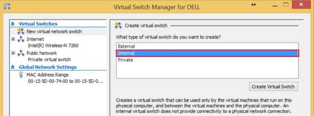 Configure Internal and Private Networking for Hyper-V Virtual