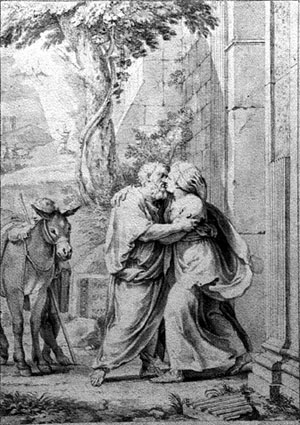 Jacques Stella, Anne et Joachim à la porte dorée, dessin, 1655-1656, Nancy, Musée des Beaux-Arts