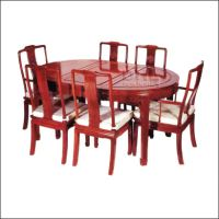 Chinese Rosewood oval Dining Table 6 carver chairs Long Life