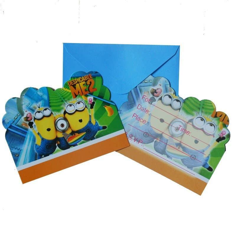 minions theme invitation cards with