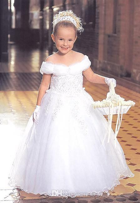 Cutely 2015 Long Children Wedding Dress For Girls Off The Shoulder