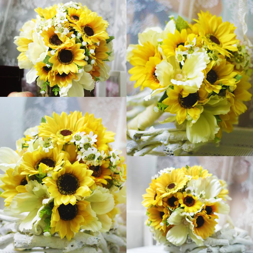 Country Sunflower Artificial Wedding Bouquets 2018 High