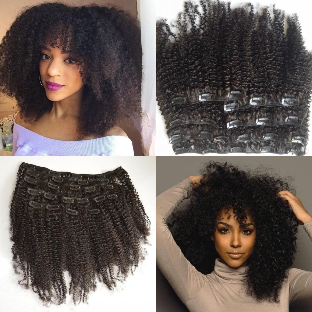 Mongolian Virgin Hair African American Afro Kinky Curly Hair Clip