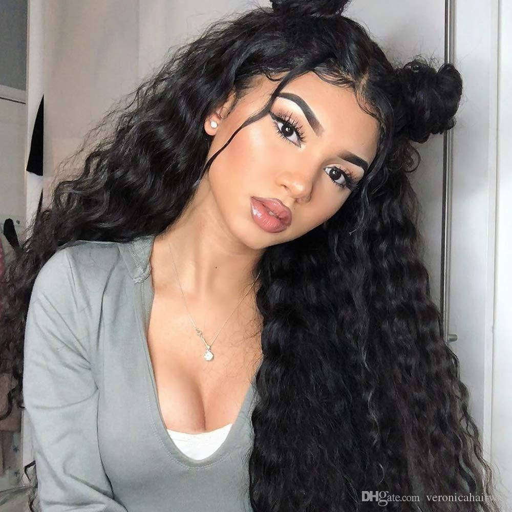 Natural Black Long Loose Curly Lace Front Wigs For Women Glueless