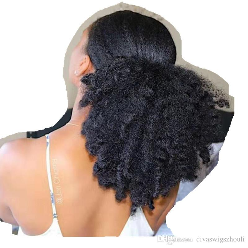 100 Human 4c Afro Kinky Curly Hair Pony Tail Clip In Drawstring