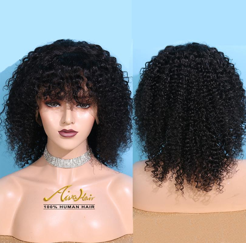 African American Wigs Brazilian Human Hair Natural Color Full Lace