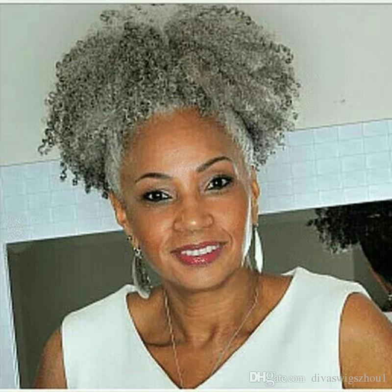Women Gray Hair Extension Natural Silver Grey Afro Puff Kinky