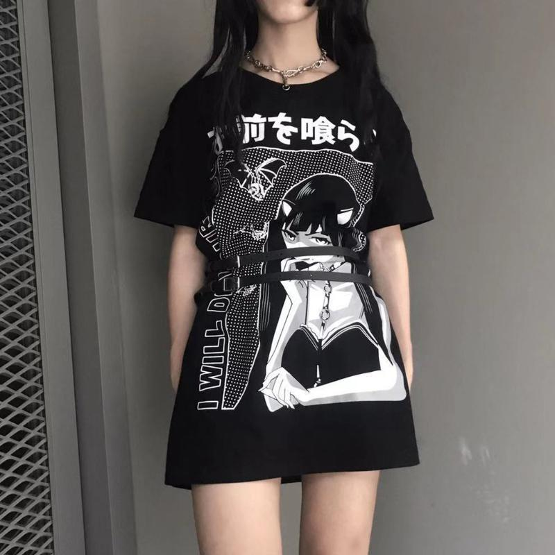 Harajuku Gothic Woman T Shirt Fashion Cute Aesthetic Punk Black Tee Loose Tops Oversize Streetwear Femme Tshirts Clothing G4 Cool Shirts Designs Pt Shirts From Lissmy 25 26 Dhgate Com