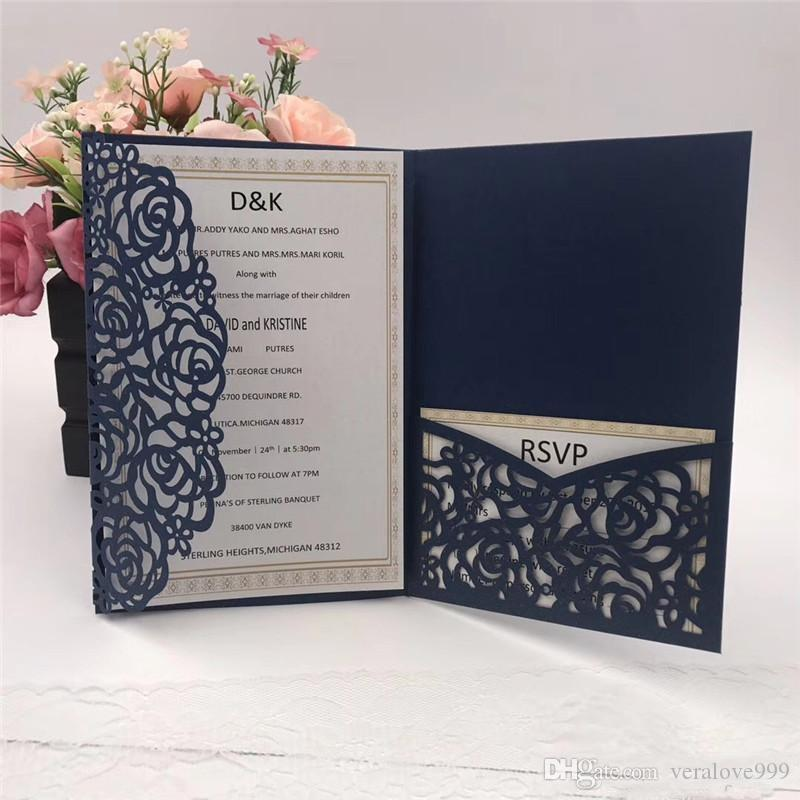 acheter vente chaude bleu marine bleue coupure de mariage cartes dinvitations de mariage 2018 nouveau design invitation de mariage personnalise carte