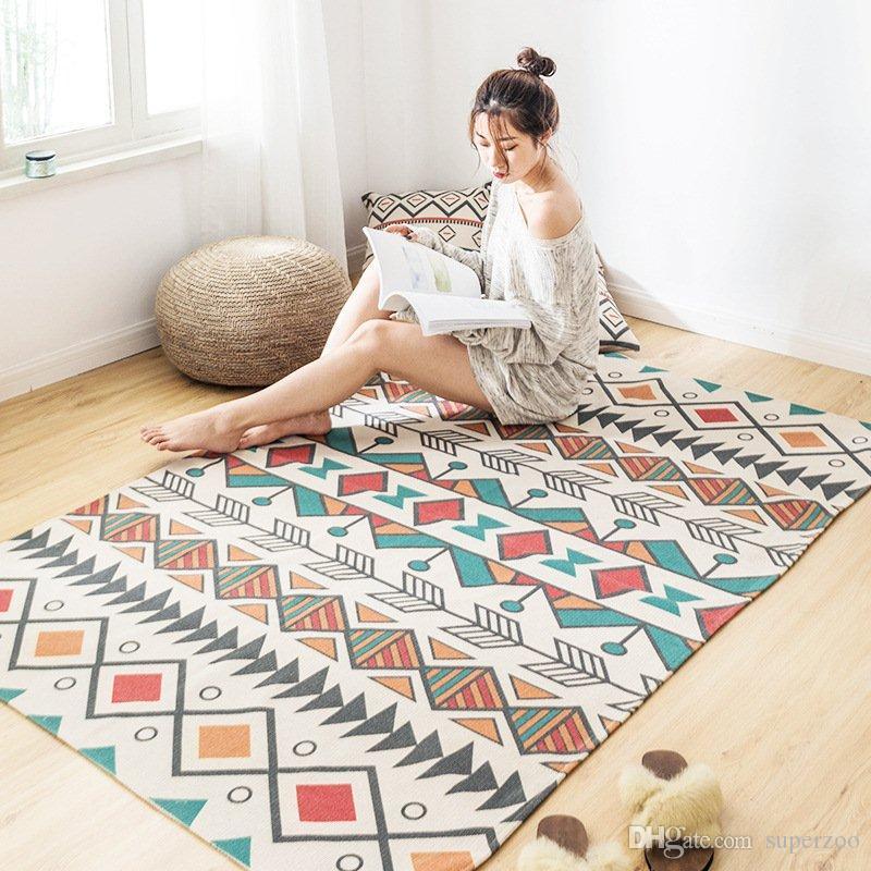acheter grande taille retro coton et lin tapis de sol chambre fait main maroc imprime geometrique grand tapis les tapis espace salon de 11 1 du