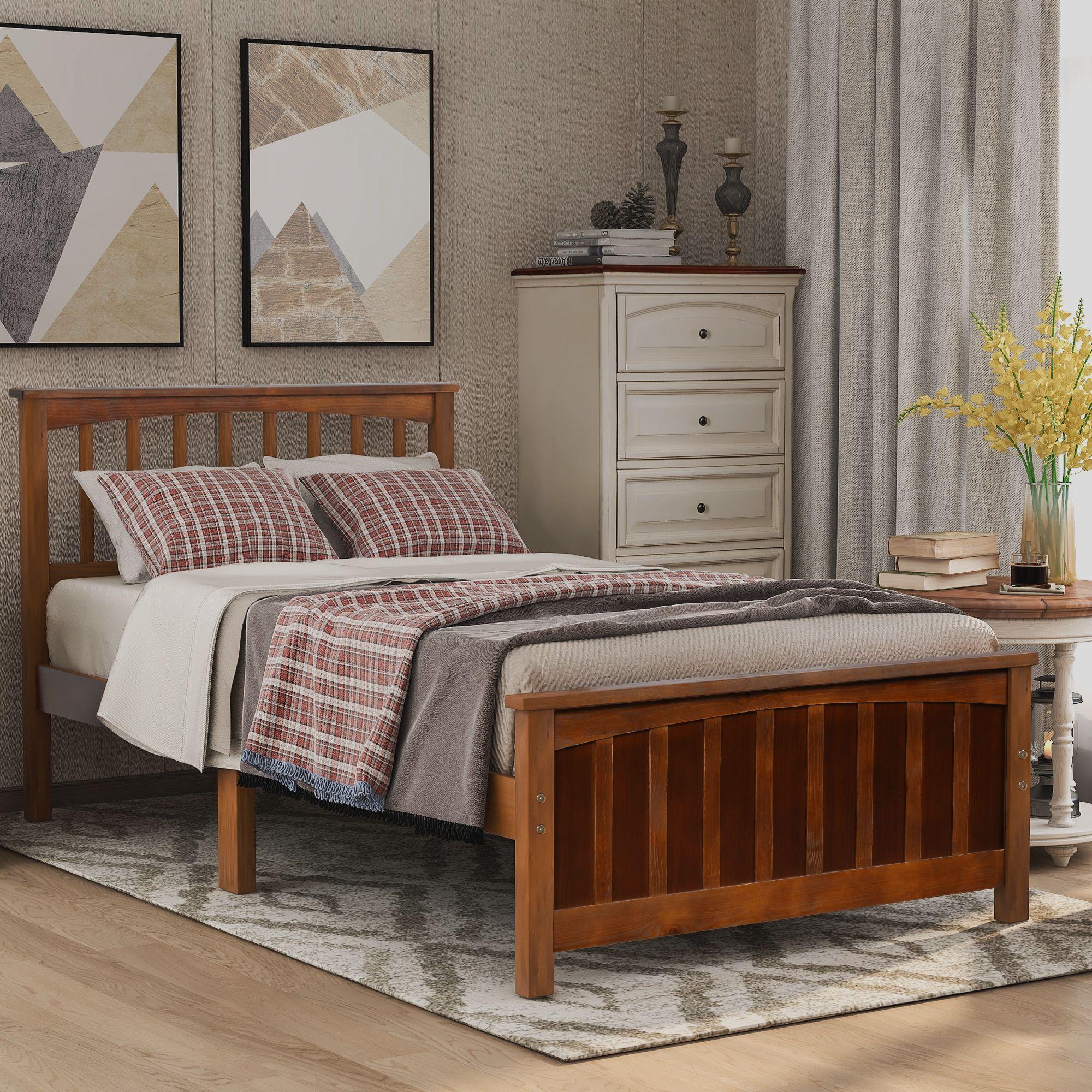 2020 Modern Wood Platform Bed Twin Size Bed Headboard Footboard Walnut White Espresso Bedroom Furniture Fast Shipping From Greatfurnishing 175 48 Dhgate Com
