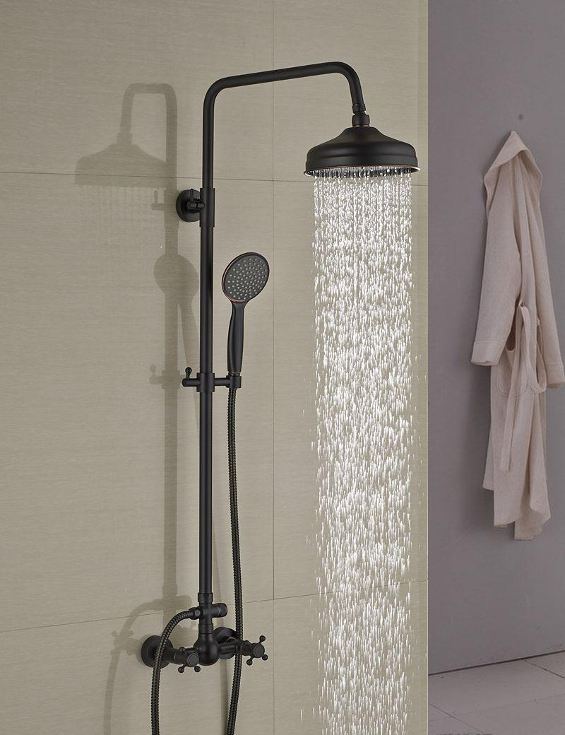 2019 Wholesale And Retail Modern Oil Rubbed Bronze 8 Rain Shower Head Wall Mounted Shower Column Dual Handles W Hand Shower Tap From Gonglangno1