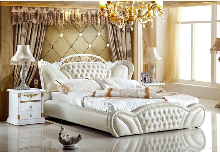 2021 GENUINE LEATHER BED ELEGANT STYLE WHITE DOUBLE PERSON MODERN FASION TOP QUALITY 180200cm ...