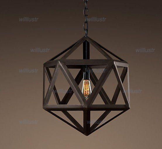 grosshandel rh lighting restoration hardware vintage pendelleuchte steel polyhedron anhanger rh loft lichter heisser verkauf leuchte von willlustr