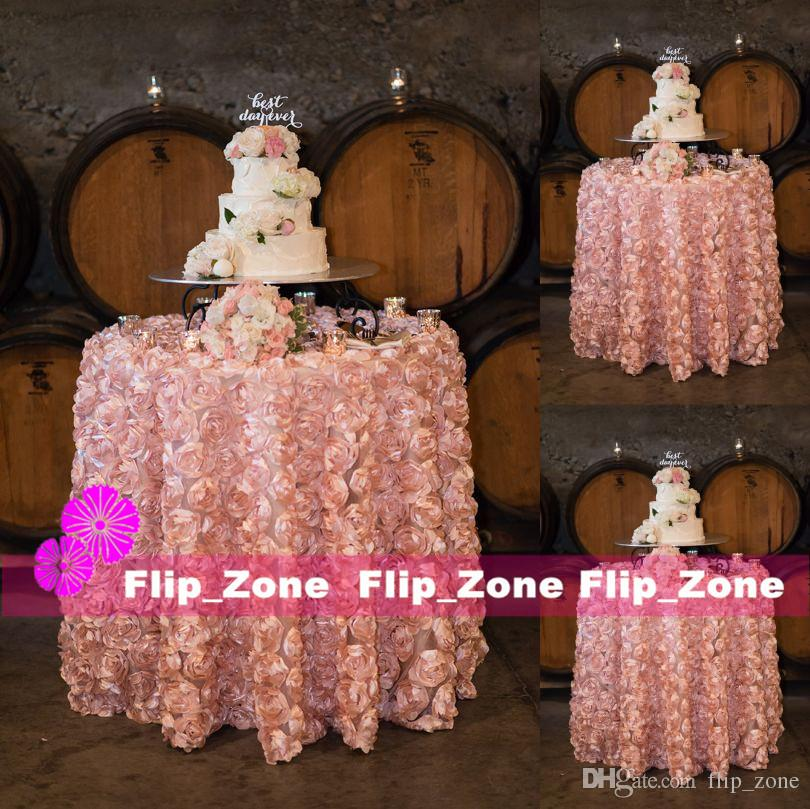 blush pink 3d rose flowers table cloth
